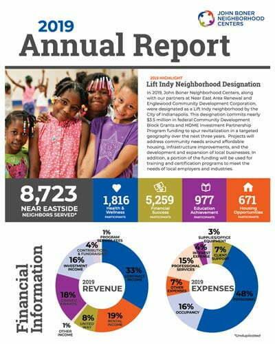 1st page of the John Boner Neighborhood Centers 2019 Annual Report