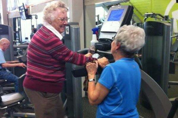 Senior Women walking on a treadmill